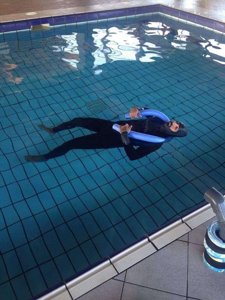 person in a pool