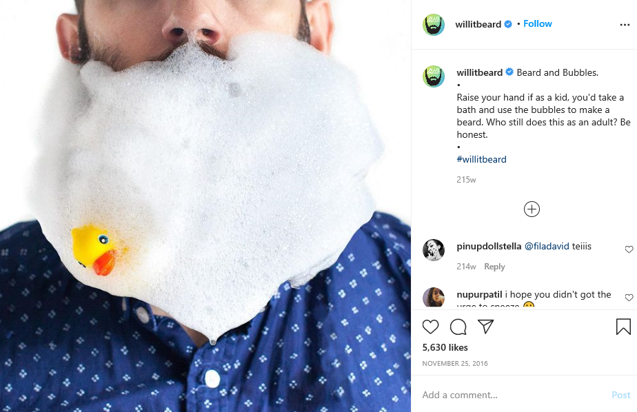 man in beard and foam