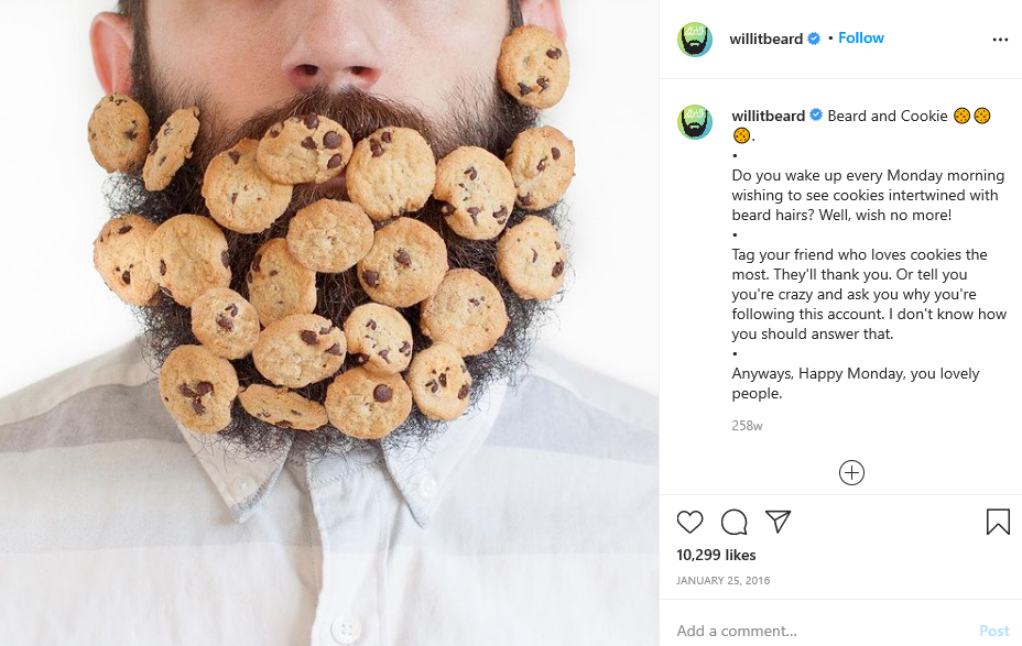 man in beard and cookies