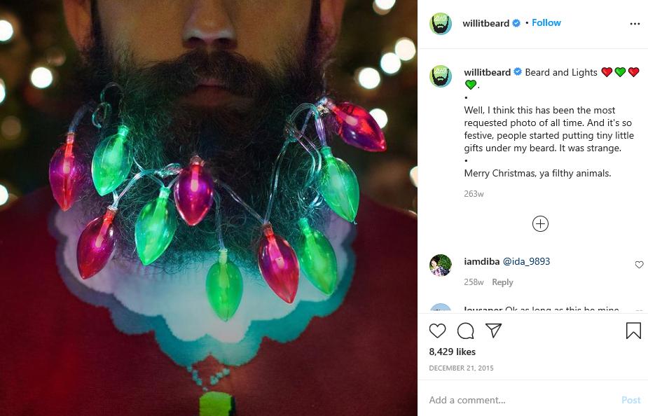man in beard and lights
